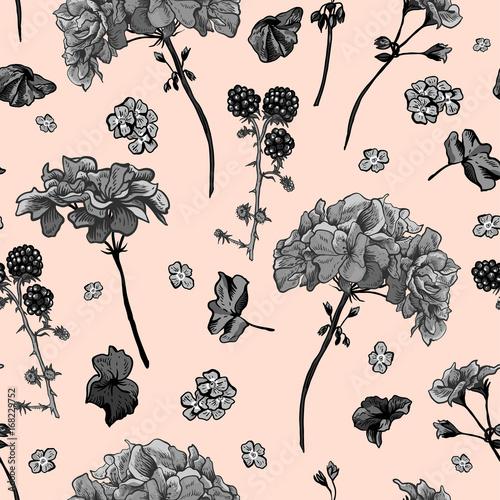 Materiał do szycia Kwiatowy wzór z kwitnące pelargonie