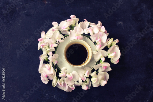 Sticker cup of coffee, wreath sweet peas, black shabby table