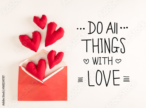 Do All Things With Love message with red heart cushions coming out of an envelop Poster