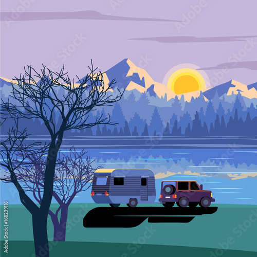 Aluminium Purper Caravan and 4X4 vehicle near the lake in the morning