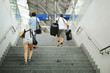 Quadro People going to the stairs at the station, blurred