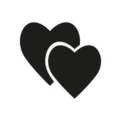 Pair of hearts simple icon