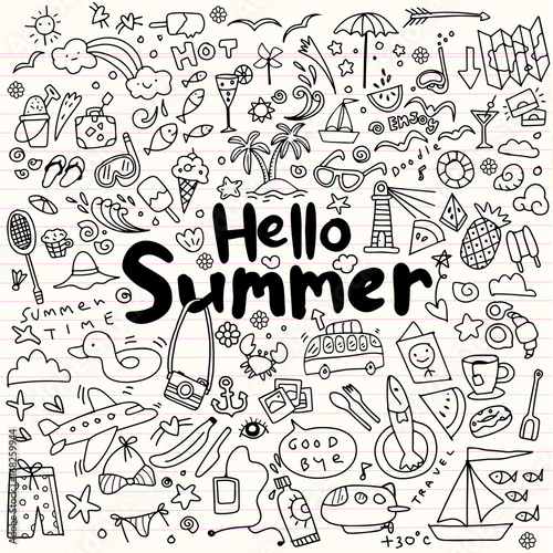 Hand drawn vector illustration set of summer elements.Hand drawing Doodle - 168259944