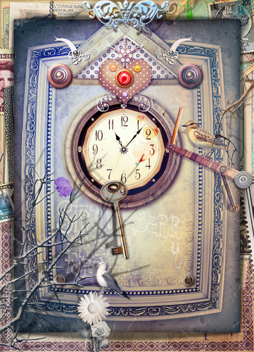 Fotobehang Imagination Wonderland scenery with gothic inside,clock,heart and key