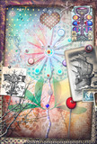 Psychedelic background with alchemical and mystic flowers and ethnic draws - 168262915