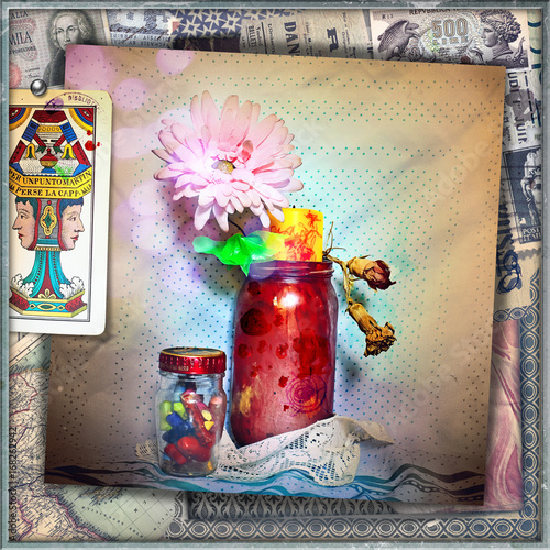 Staande foto Imagination Still life with red jar,tarots,pastels and colors
