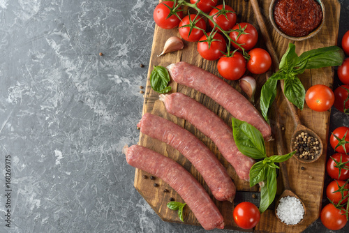 Natural raw sausages Poster