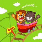 lion and cat riding a roller coaster - vector illustration for children.