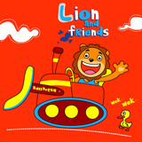 lion and friends - vector illustration for children.