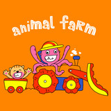 cute octopus ride a tractor with cat - vector illustration for children.