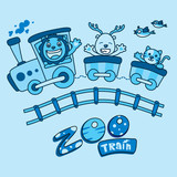 zoo train - vector illustration for children - monochrome style.