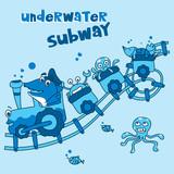underwater subway - vector illustration for children - monochrome style.