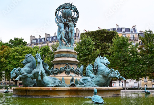"The fountain of the Observatory (""La fontaine de l'Observatoire""), or the fountain Four continents in the Jardin Marco Polo, south of the Jardin du Luxembourg in Paris, France Poster"