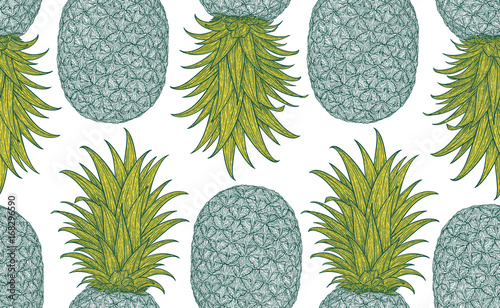 Cotton fabric Hand drawn pattern with decorative pineapple. Stylized colorful fruit. Summer spring background, nature collection. Vector illustration
