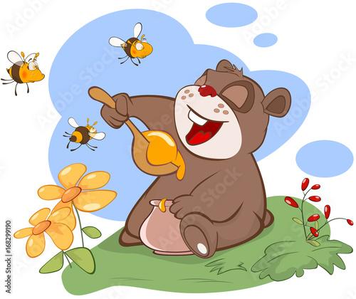 Papiers peints Chambre bébé Illustration. Bear and the Bees Story