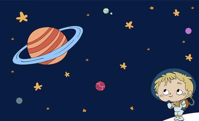 niño con traje espacial y universo