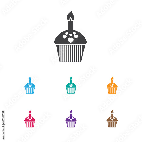 Vector Illustration Of Heart Symbol On Cupcake Icon. Premium Quality Isolated Muffin Element In Trendy Flat Style.