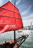Traditional chinese junk sail in Victoria harbor,Hong Kong