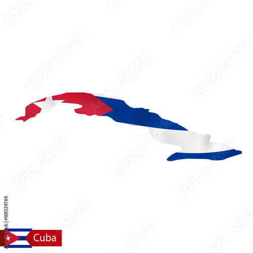 Cuba map with waving flag of country.