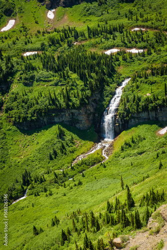 Waterfalls along the Going to the Sun Road in Glacier National Park from above