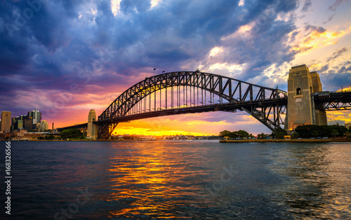 Staande foto Sydney Sunset above Harbour Bridge in Sydney