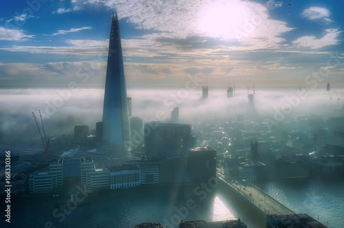 Foto op Plexiglas London City of London and The Shard in a foggy day