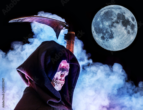 A skeleton with a hood running with a scythe through the night Poster