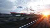 Electric passenger train. Very fast driving. journey and travel concept. 3d rendering.