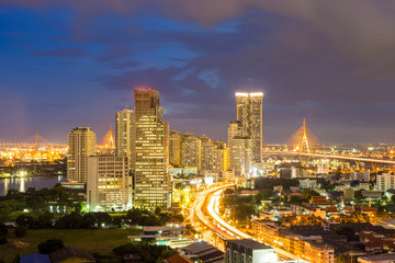 cityscape of Bangkok city at night  , landscape Thailand