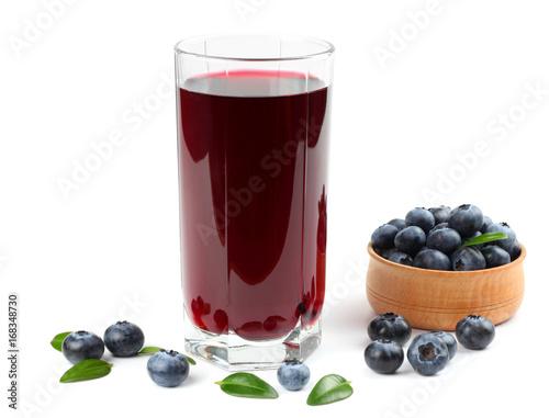Fotobehang Sap blueberry juice isolated on white background.