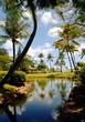 Portrait shot of a landscaped garden a pond and coconut trees by a tropical beach