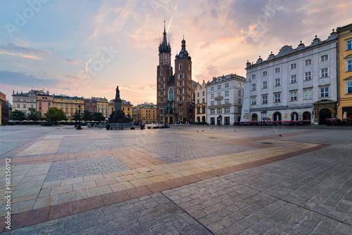 Rynek square in Krakow in the morning