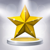 Gold five-pointed star on the illuminated podium, award pedestal, geometry shape, vector design for you project