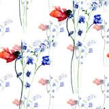 Watercolor seamless pattern beautiful spring flowers