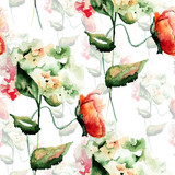 Seamless pattern with Hydrangea and Poppy flowers