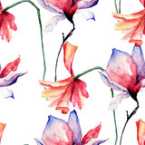Seamless wallpaper with Beautiful Poppy and Magnolia flowers
