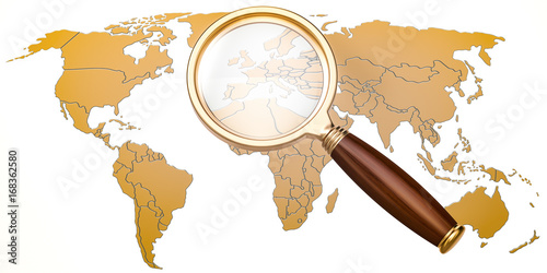 Map of Earth under magnifying glass, analysis concept, 3D rendering