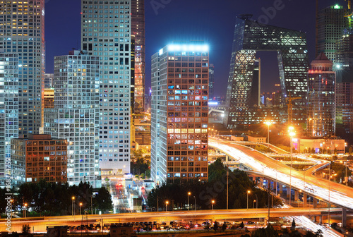 Foto op Plexiglas Peking High angle view of Beijing CBD Skyline at night