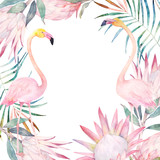Summer colorful frame with flamingo, palm leaves and flowers. Watercolor hand drawn illustration - 168382770