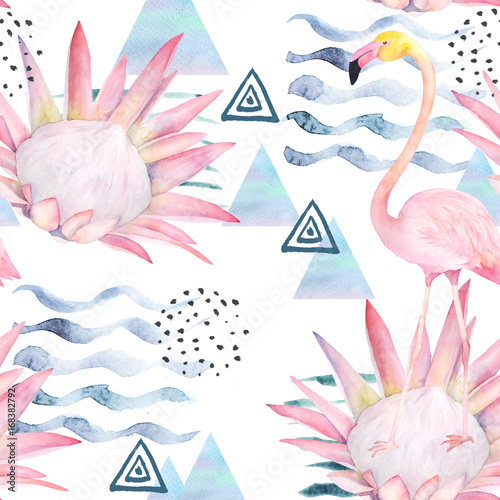 Watercolor seamless pattern. Abstract print with flamingo, protea and triangle. Hand drawn illustration - 168382792