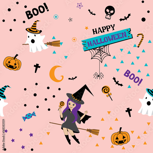 Cotton fabric Happy Halloween seamless pattern design with cute witch girl,little ghost and pumpkin on pink pastel background color.