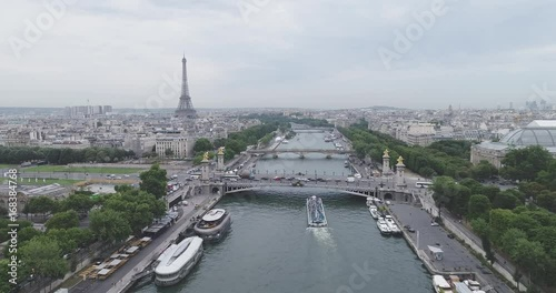 Wall mural Aerial view of Paris with Seine river, low contrast