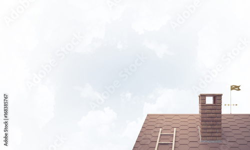 House roof as concept of suburbian real estate and construction.
