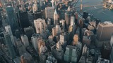 Wide angle aerial shot of New York around 6pm in the summer with magnificent view of city skyscrapers - 168386937