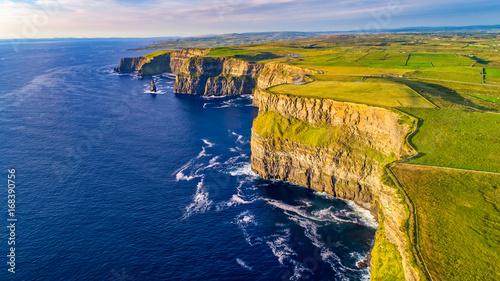 View of Cliffs of Moher, Liscannor, Ireland. The Cliffs of Moher in County Clare are Ireland's most visited natural attraction