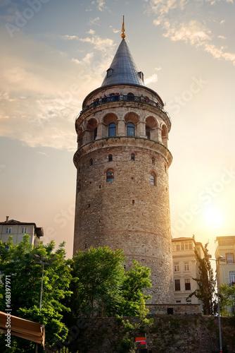 Galata Tower at sunset Poster
