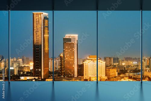 shanghai skyline outside the window - 168403575