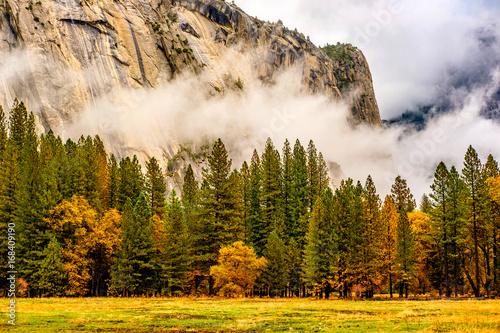 Fototapeta Yosemite Valley at cloudy autumn morning