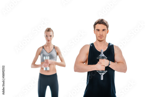 Sticker man and woman workingout