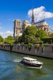 Notre Dame de Paris cathedral on Ile de La Cite. The Seine River and tourist boat in summer. Paris, France - 168413963